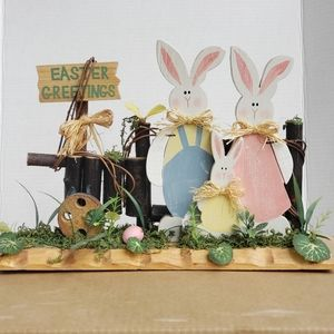 Easter Greetings Bunny Family Decor Decorations
